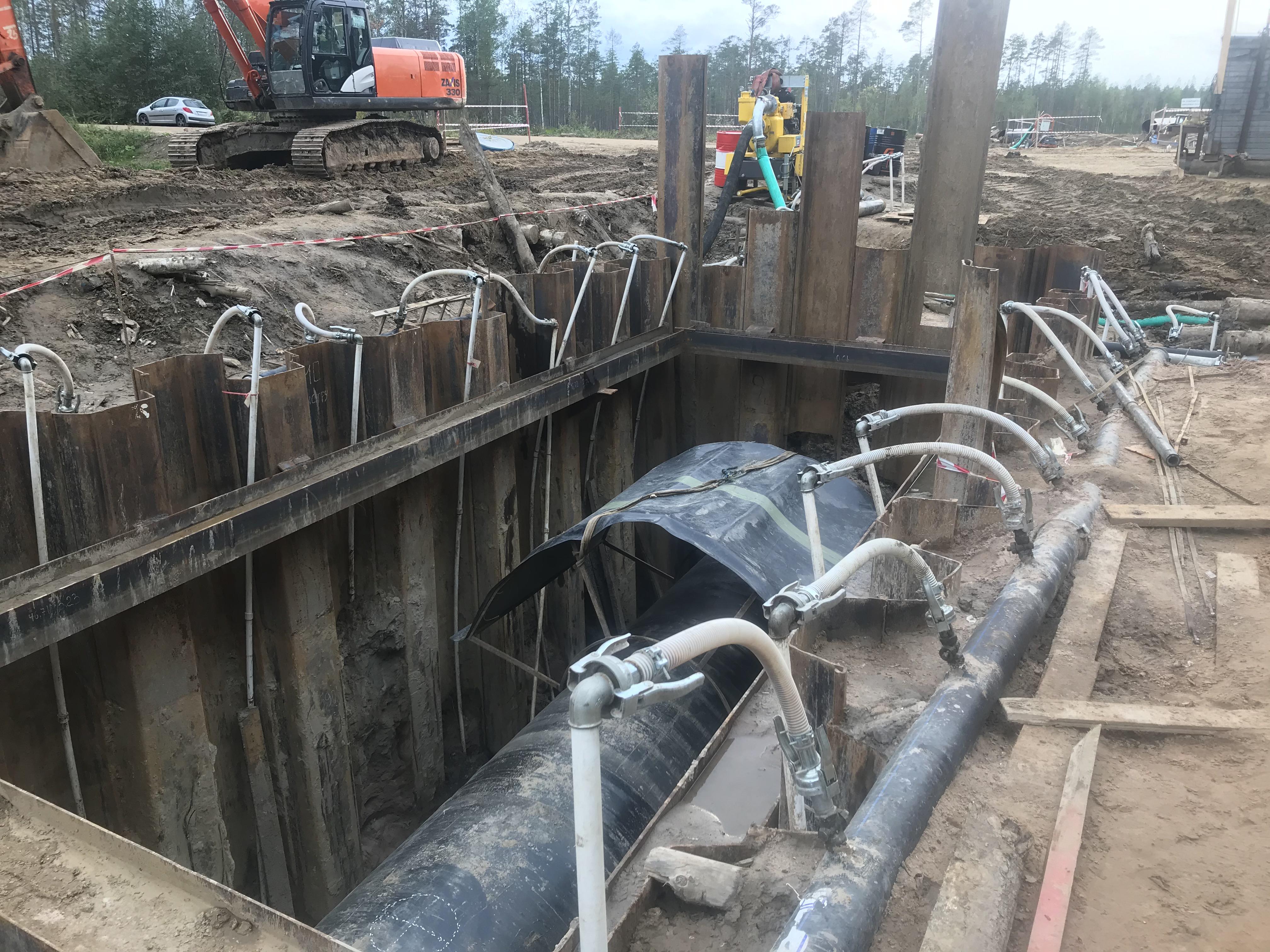 Понижение грунтовых вод при прокладке инженерных сетей