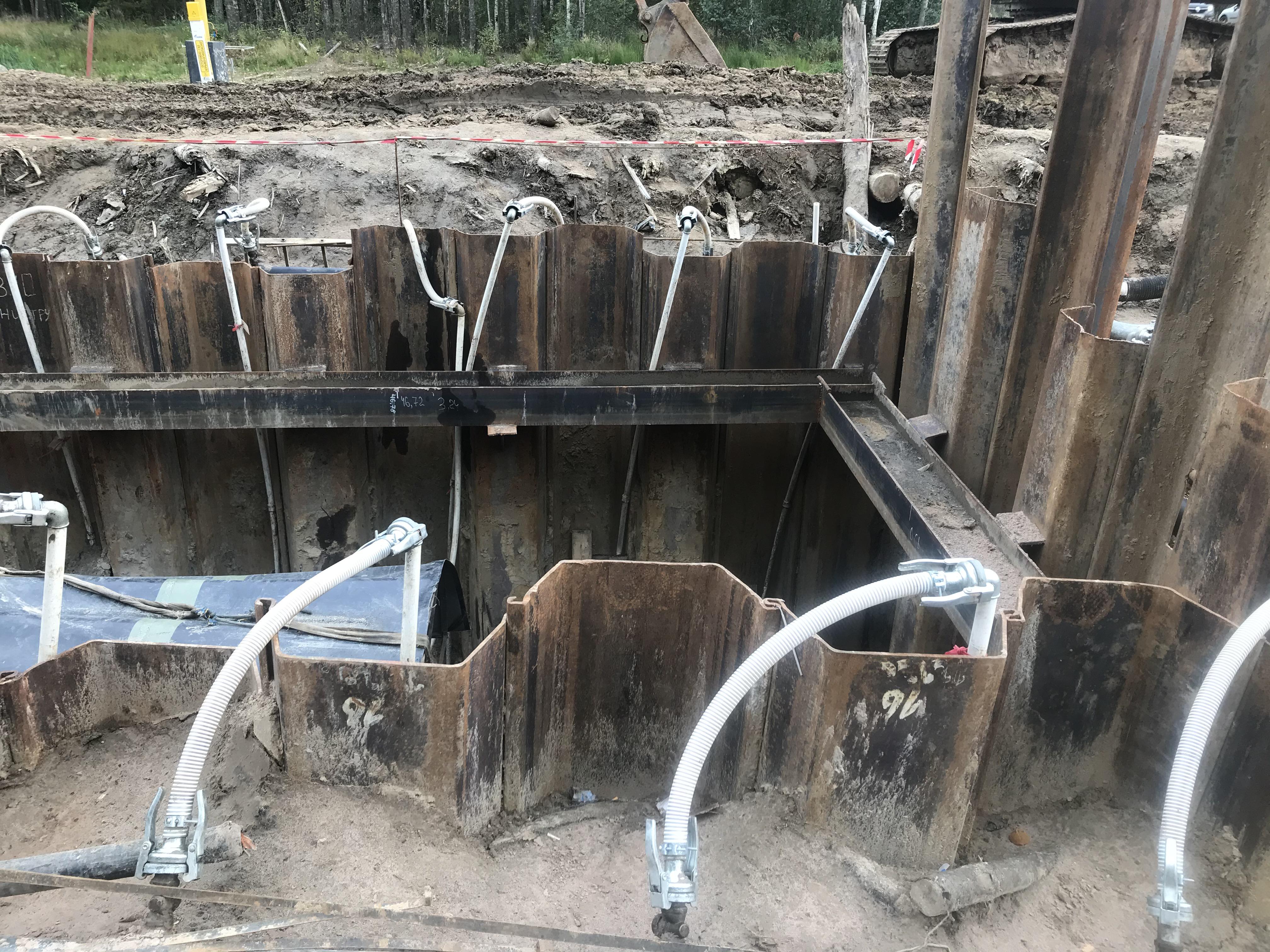 Вспомогательная работа водопонижения при шпунтовом ограждении
